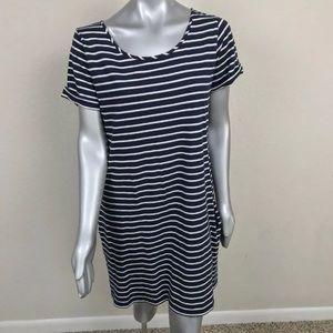 Lucky Brand Dress Short Sleeve Striped Blue Sz M